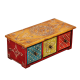 Multicolor Horizontal Three Drawer Embossed Box in Wood handicraft item