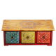 Multicolor Horizontal Three Drawer Embossed Box in Wood return gift