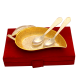 return gifts as Set of Mango Shaped Serving Tray & 2 Spoons in German Silver
