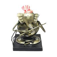 Iron & Wooden Formed Lord Ganesha statue with Flute
