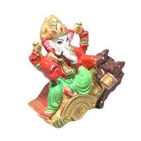 Jaipuri Painted Metal God Ganesha sitting on Rat pose