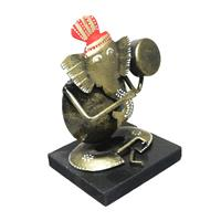 Lord Ganesha Playing Dhapli made of Wood & Iron Combo