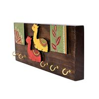 Multicolor key holder with camel and contemporary art form made of wood