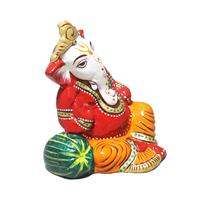 Resting Posed Metal Lord Ganesha with Jaipuri Painting