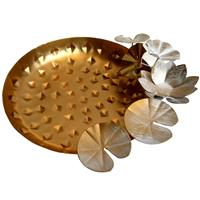 Serving Plate With Decorative Flower Crafted Of Iron