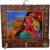 Wooden Key Holder With Radha Krishna's Painting