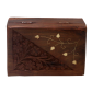 Alluring barnish coloured wooden box with carving BH-0613-1