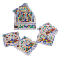 Peacock Painted Meenakari Coaster Set