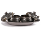 set of two oxidised metal dabbis with tray