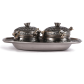 set of two oxidised metal dabbis with tray for return gifts