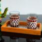Jeweled orange wooden utility tray