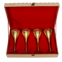 24 Carat Gold Plated Np Wine Glass Set Of 4