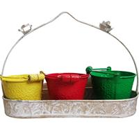 3 Bucket Balti With Handle In Tray Of Metal Handicrafts