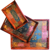 3 Piece Indian Wooden Handicrafts Service Tray Set Online