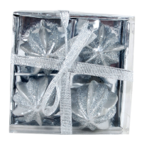 4 piece silver wrapped anar shaped candle hamper