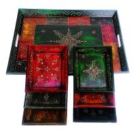 7 Pc Wooden Handicrafts Artwork Service Tray Set Online