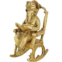 Lord Ganesha On Chair Handicrafts Of Metal