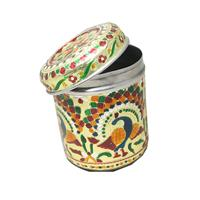 Meenakari Crafted Stainless Steel Box As Utility Gifts