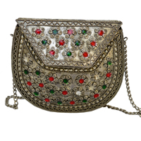 Stones Style Painted Oxidized Bag with Chain Strap