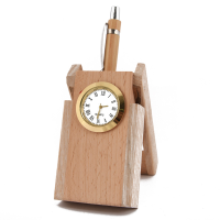A Classy Wooden Pen Stand With A Built In Watch