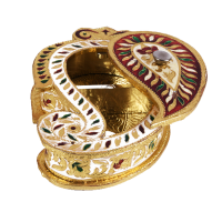 Wooden meenakari designed dry fruit box