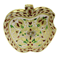 Apple shaped wooden box with meeankari work