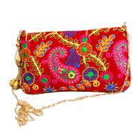Handcrafted clutch bag with sling handle