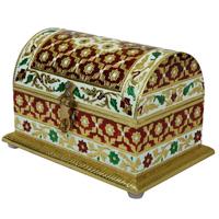 Rajasthani Jewellery Box Crafted Of Wood & Meenakari Artwork