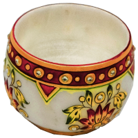 Round Shaped Marble Meenakari Stone Crafted Candle Holders