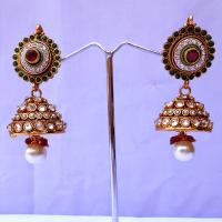 Beaded red & green jhumka earrings