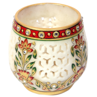 Beautiful Marble Crafted Jaalidaar Tea Light Candle Holders