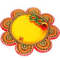 Wood Kundan Craft Flower Pooja Thali For Ladies Online
