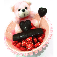Chocolate pink basket with teddy