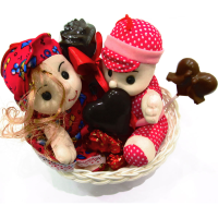 Chocolate pink basket with twin teddy