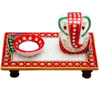 Marble Handicrafts Chowki With Ganesh Ji & Diya Online