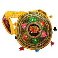 Circular Yellow Bag With Floral Print and Elephant Design