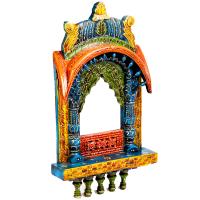 Colorful Traditional Rajasthani Bandhej Wooden Jharokha