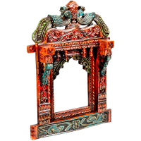 2 Peacock Traditional Rajasthani Wooden Crafted Jharokha