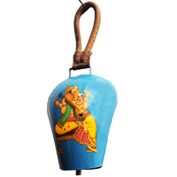 Colourful metal wind bell with ganesha painted for vibrancy and peace