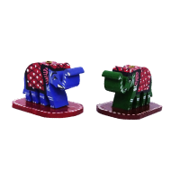 Colourful Pair Of Elephant Incense Stick Holder