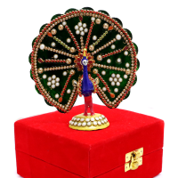 Colourful Peacock Showpiece With Stone And Meena Work