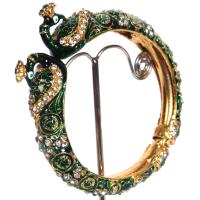 Dark green veined bangles