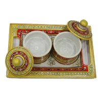 Marble Meenakari Crafted 2 Dibbi With Lid & Tray Online