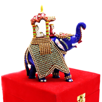 Decorative Elephant In Royal Colour With Design Work