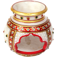 Decorative Traditional Marble Multicolor Candle Pot