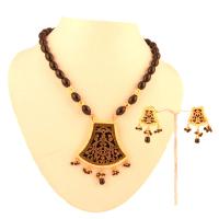 Designer brown pendant set