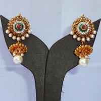 Designer red & green jhumki earrings