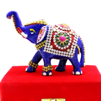 Elephant Made Of Metal With Stone  Designs