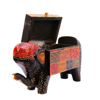 Elephant Shaped Multicolor Embossed Box in Wood