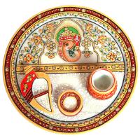 Ganesh Marble Meenakari Pooja Thali Online For Ladies